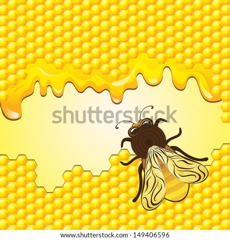 Bee and honeycombs raster image