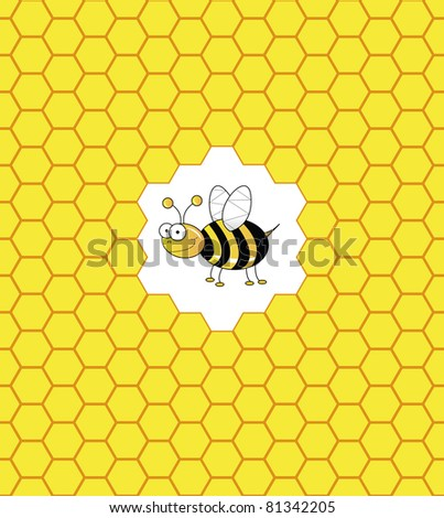 Bee in a bee hive illustration