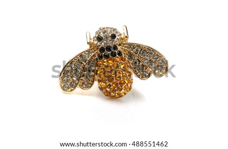 Bee Jewelry with stones isolate on a white background