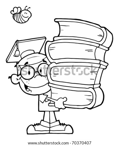 Bee Over An Outlined Graduate School Boy Carrying A Stack Of Books - stock photo