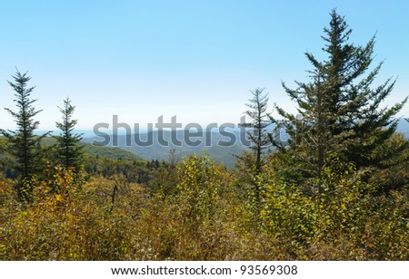 Beech Gap curve viewpoint on the Blue Ridge Parkway - stock photo