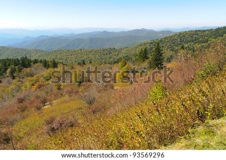 Beech Gap overlook of forested hills - stock photo