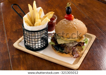 Beef Burger and Fries - stock photo