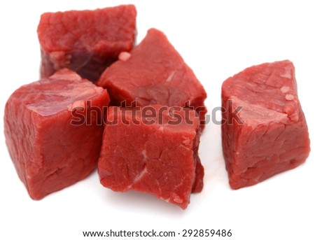 beef cubes on white background  - stock photo