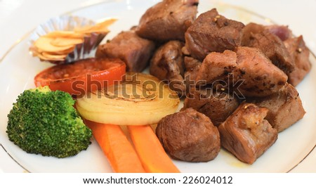 Beef Dice with Vegetable, Japanese Style - stock photo