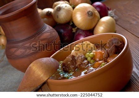 beef fricassee - French meat  cut into small pieces, stewed or fried - stock photo
