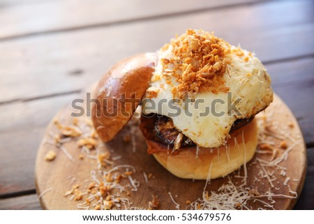 Beef Hamburger on wood background
