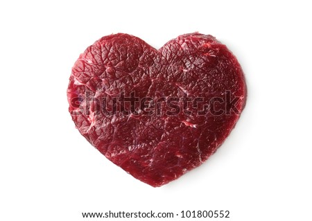 beef heart isolated on white - stock photo