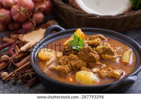 Beef massaman curry, thai cuisine - stock photo