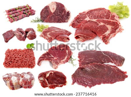 beef meat in front of white background - stock photo
