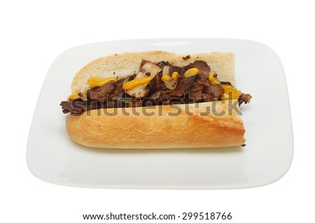 Beef, onion and mushroom filling with mustard in a baguette on a plate isolated against white - stock photo
