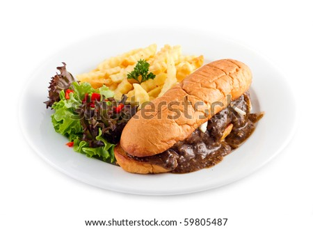 beef prosperity burger with french fries