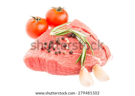 Beef raw meat, steak isolated on white background - stock photo