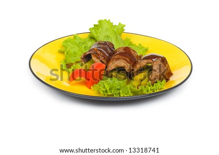Beef rolls isolated on the white background