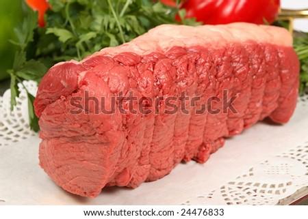 beef round steak - stock photo