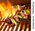 beef shish kabobs on the grill - stock