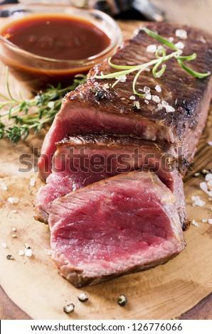 beef steak closeup - stock photo