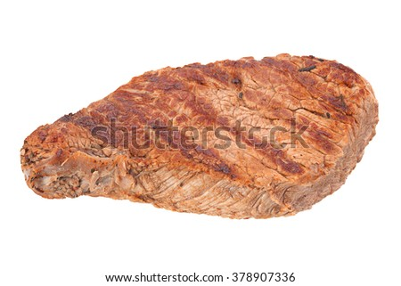 Beef steak closeup isolated on white background