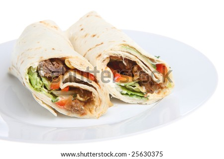 Beef steak tortilla wrap
