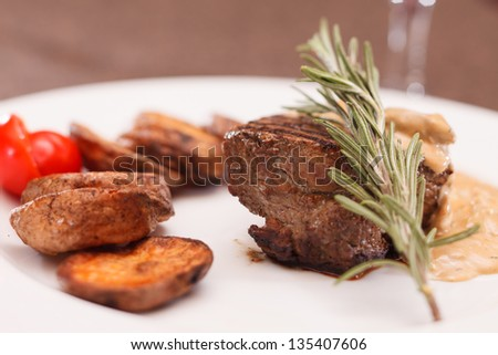 beef steak with potatoes - stock photo