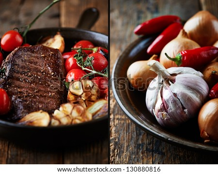 Beef steak with rustic vegetables - stock photo