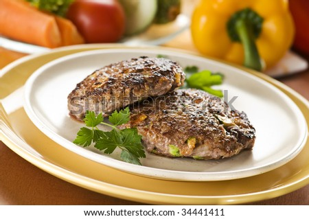 Beef steak with vegetables close up shoot