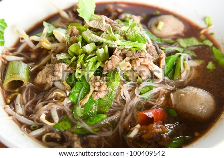 Beef Stew Noodle Soup - stock photo