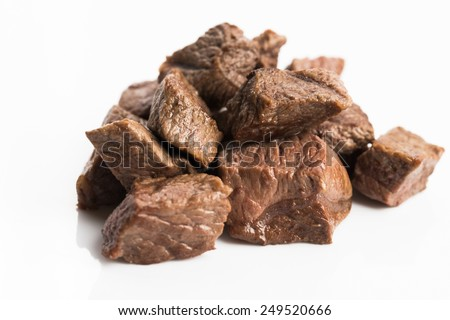beef stew on white background  - stock photo