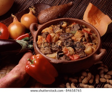 Beef stew with peanuts - stock photo