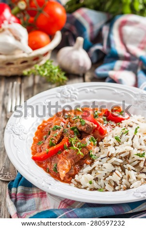 beef stew with peppers and tomatoes