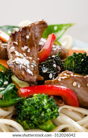 Beef stir fry close up with vegetables