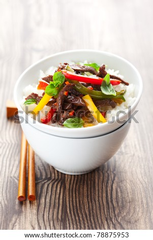 beef stir-fry with vegetable and rice