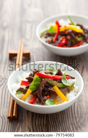beef stir-fry with vegetable and rice - stock photo