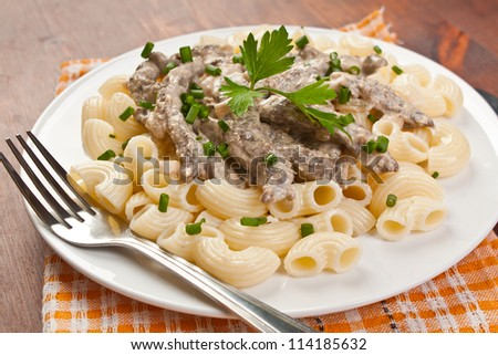 Beef Stroganoff with pasta on the plate - stock photo