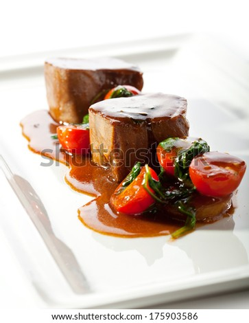 Beef Tongue with Spinach and Potatoes - stock photo