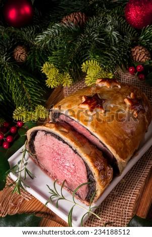 Beef Wellington as Advent creation - stock photo