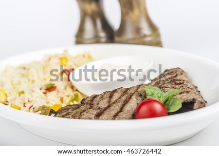 beef with rice and pepper and salt