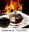 beef with wine - stock photo