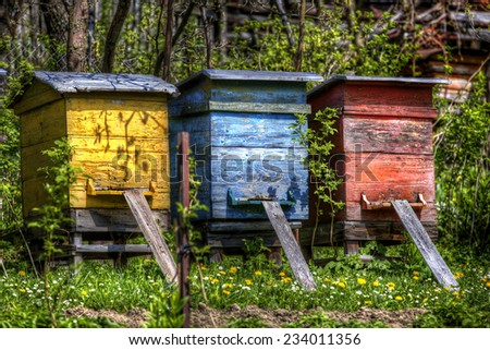 Beehives in the Village of Vlkolinec, Slovakia - stock photo