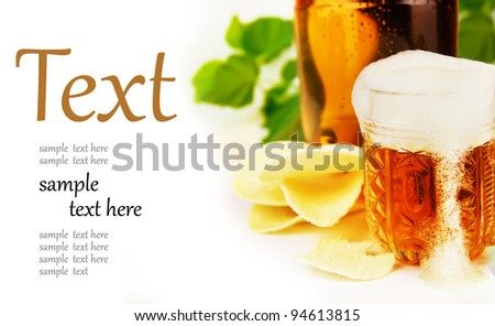 beer and chips on a white background  (With sample text) - stock photo