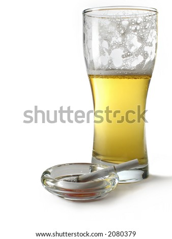Beer and cigarette - stock photo
