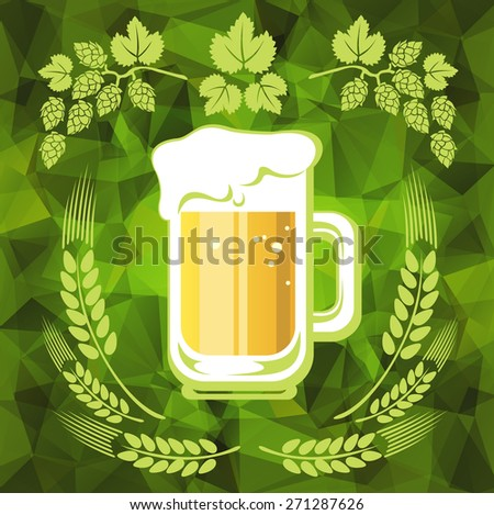 Beer and hop on a green polygonal background. - stock photo