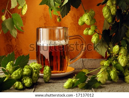 Beer and hops in retro style - stock photo