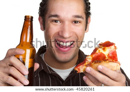 Beer and Pizza Man - stock photo