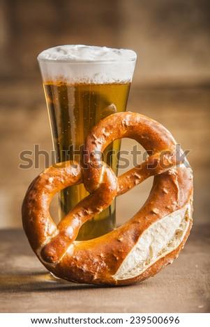 Beer and pretzel - stock photo