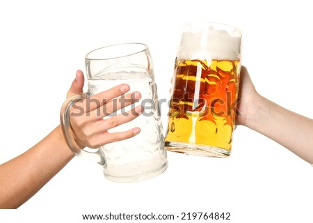 Beer and water pitcher - stock photo