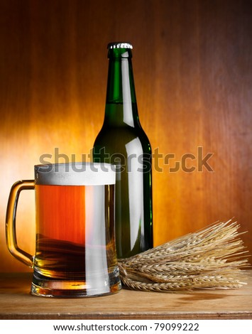 beer and wheat - stock photo