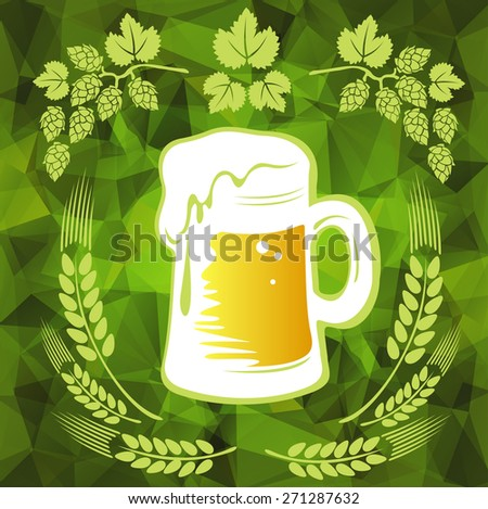 Beer and wheat ears on a green polygonal background. - stock photo