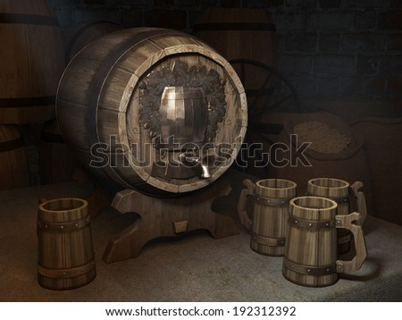 Beer barrel with circles in the cellar - stock photo