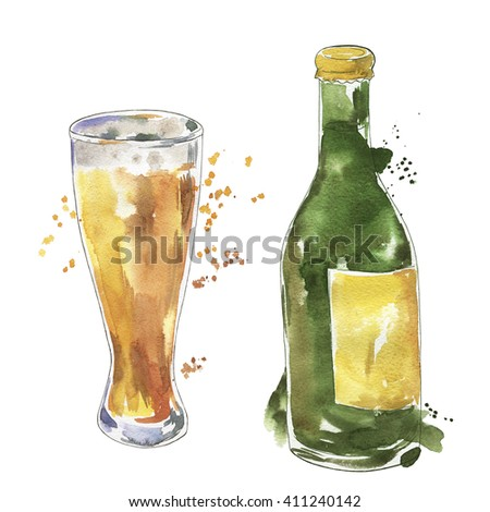 Beer bottle and glass of beer drawn by watercolor and ink. Hand drawn watercolor illustration.